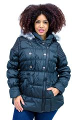 Plus Size Hooded Belted Puffer Coat Black