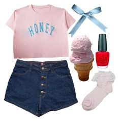 """""""Oh, Honey Honey..."""" by doe-eyed-nymphet ❤ liked on Polyvore featuring OPI, nymphet and nymphetfashion"""