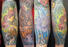 亀,スカル,蓮,足タトゥー/刺青デザイン画像