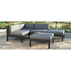 CorLiving Oakland 5 Piece Sectional With Chaise Lounge Patio Set (5 Piece),  Black, Size 5 Piece Sets, Patio Furniture (Fabric)
