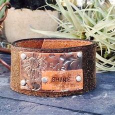 'Shine' Brown Leather Cuff
