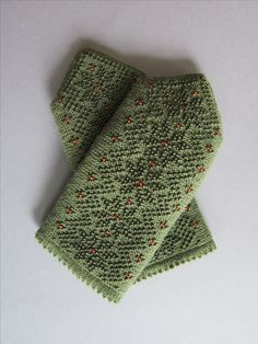 Green Wool Double Mittens with Seed Beads
