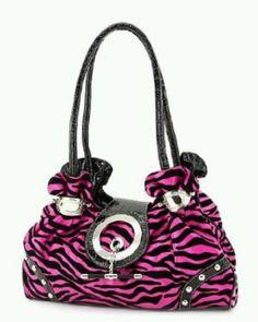 Black and pink zebra purse