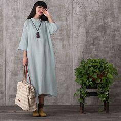 Dress - Women Summer Loose Pullover Cotton Linen Dress