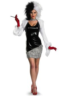 Disney Costumes Sexy Cruella Adult Women's Costume - Cruella Deville has never looked so good. This sassy Creulla costume for women is a great Halloween costume idea. It features a short polyester dress . Disney Halloween Costumes, Adult Halloween, Adult Costumes, Costumes For Women, Halloween Ideas, Halloween 2015, Halloween Stuff, Best Female Halloween Costumes, Halloween Customs