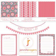 Valentine Day Hop Freebie from Jennifer Rogers Design Valentine Day Crafts, Be My Valentine, 10th Birthday Parties, Holiday Tables, Digital Designer, Scrapbook, Etsy, Winter Wonderland, Adobe