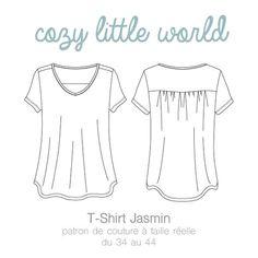 Patron de couture à taille réelle Fichier PDF à imprimer sans mise à l'échelle Du 34 au 44 (FR) Langue : Français Jasmin est un t-shirt en maille...
