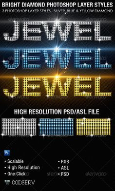 Bright Diamond Photoshop Layer Styles Vol 1  #GraphicRiver          The Bright Diamond Photoshop Layer Styles are sold exclusively on graphicriver and can be used for variety of design projects, including Posters, Flyers, CD Artwork etc. Great for projects with a Club Theme, Bling Theme or Jewelry Theme. Have fun and be creative. Use one click to apply or copy the style from the provided psd file.   The download includes 1 PSD file with 3 High Resolution Photoshop Styles and an ASL file for…