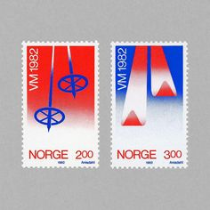 World Ski Championships Oslo '82. Norway 1982. Design: Leif Anisdahl. #mnh #mintneverhinged #mnh_nor #postagestamps #norway #graphilately by mintneverhinged