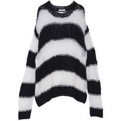 Oversized Striped Sweater ($37) ❤ liked on Polyvore featuring tops, sweaters, striped top, oversized striped sweater, stripe top, oversized sweaters and oversized tops