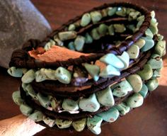 Turquoise Magnesite Beaded Leather Wrap by CristinaDavisJewelry, $25.00