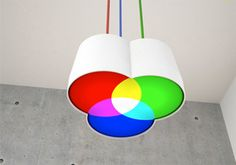 'MischlichtRGB' by Fabian Nehne and Martin Meier. The German and Swiss productdesigners Fabian Nehne and Martin Meier recently finished this pendant light, a consequent translation of the additive colour mixing into an adequate luminaire. Deco Luminaire, Luminaire Design, Interior Lighting, Lighting Design, Lamp Light, Light Up, White Light, Additive Color, I Love Lamp