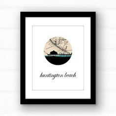 Huntington Beach Pier print // Huntington Beach, California art // California print // beach decor