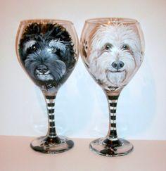 Pet Portraits Custom Hand Painted Wine Glasses On 2 - 20 oz. Wine Glasses Dog Cat Horse Any Pet Gift Pet Memorial Pet Lover by SharonsCustomArtwork on Etsy