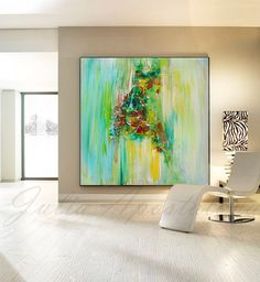 Green Painting, Large Abstract Painting, Green Print, Wall Art Canvas, Minimalist Painting, Yellow, Large Wall Art. Landscape, Home Decor