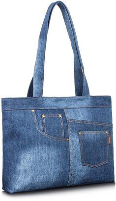 Denim Bags From Jeans, Denim Tote Bags, Diy Denim Purse, Denim Handbags, Fashion Handbags, Denim Bag Patterns, Tote Bags For School, Bag Women, Diy Sac