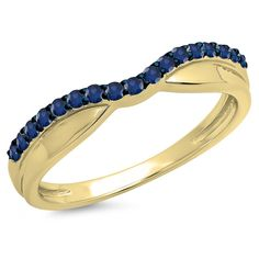0.25 Carat (ctw) 14K Gold Round Cut Blue Sapphire Ladies Anniversary Wedding Contour Guard Band 1/4 CT *** For more information, visit now : Wedding Ring Enhancers
