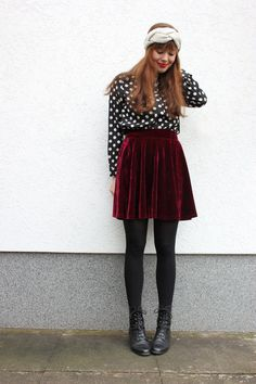 Polka Dot blouse, red velvet skirt, white turban