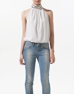 TOP WITH BRAIDED COLLAR - Shirts - Woman - ZARA United States  sale! Bought
