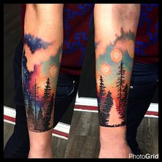 A bit bloody, got to start on something a little different on my friend Kieran the other day while she's in town visiting, thanks for looking! #suntattoo #sunset #sunsettattoo #nightsky #spacetattoo #treetattoo #landscapetattoo #chicagotattoo #chicagotattooartist #sunrisetattoo #ladytattooers