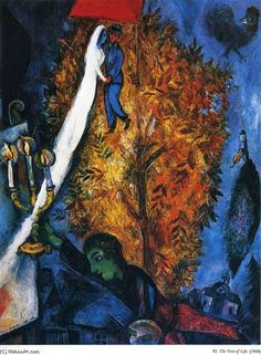 Marc Chagall The Tree of Life 1948 print for sale. Shop for Marc Chagall The Tree of Life 1948 painting and frame at discount price, ships in 24 hours. Marc Chagall, Artist Chagall, Chagall Paintings, Art Sur Toile, Fauvism, Jewish Art, Art For Art Sake, Kandinsky, Tree Of Life