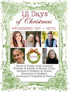 THE blogging event of the SEASON! Introducing the 12 Days of Christmas! ....12 Days, 60 inspired posts, 12 Giveaways, and 5 fabulous Link Parties. Trust me, you don't want to miss a moment of this!     Find out more: http://www.inspiredbycharm.com/2012/11/welcome-12-days-of-christmas.html