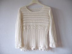 Ivory White Crochet Sweater Lace Pullover Crocheted Tunic Cardigan Vintage Elegant Romantic Summer