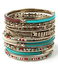 Look at this Turquoise & Ruby Eze Bangle Set on #zulily today!