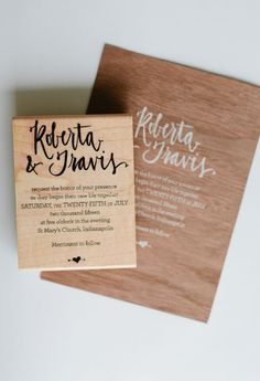 ROBERTA // Invitation DIY Rubber Stamp by AllieRuth on Etsy Totally digging this stamp idea.
