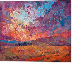 Sunset Acrylic Print featuring the painting Burning Sun by Erin Hanson