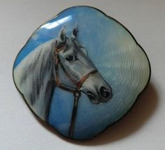 Blue Enamel Horse Head Brooch, Skjelden Brosje - Sølv og Emalje / Aksel Holmsen