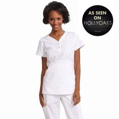 """Longer top from Koi in white, 26"""" length (size S) 55% cotton/45% polyester soft twill top, Two functioning snap buttons and deep pockets XS-3X  £27.50 #dental #uniforms #nurse #female #scrubs #tunics #top #healthcare #koi #Justine #happythreads"""