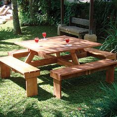 Picture of Square Hardwood Picnic Table