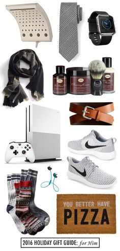 oxygenics shower head // plaid tie // fitbit // plaid scarf // shaving kit // cognac belt // xbox one s // nike runners // bluetooth headphones // socks // pizza doormat Let's face it, buying for guys is hard. But each year that I am married, I tend to get a little more creative …