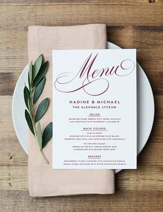 The Nadine Collection is an elegant and classic Menu Card with a clean text font and beautiful, classic script. This beautiful design is perfect to outline all the details of your reception menu. This menu is shown in marsala and White, but we can customize your wedding colors for free!  » PRICING & WHAT YOU RECEIVE « (All dimensions listed are in inches) Menu : $12.95 USD - 1 4.5x6.5 Digital PDF Menu File with your personalized information and colors on one side. - 3 Rounds of Proofs/ Edits…