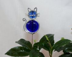 Stained Glass Royal Blue Cat Plant Stake, Cat Garden Art