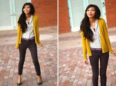 Cardigans are a way to add color and shape to any outfit. They are great with any business casual attire in a work place.