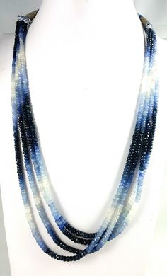 281 CT 4 LINE MULTI SAPPHIRE FACETED BEADS NECKLACE 4X4X3MM  BEADS FASHION  JEWELLERY, FROM JEWELLERYAUCTIONS.COM