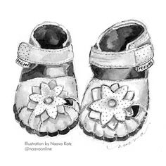 Pediped Kids. Illustration of shoes. Baby shoes illustration. Baby's first shoes. Baby's first steps. White baby shoes.