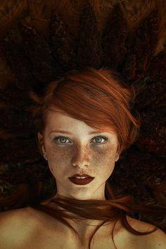. Portrait of freckled girl, Looking at the world eyed photographer Maja Topčagić, Bosnia and Herzegovina. Model Asyma Sefic