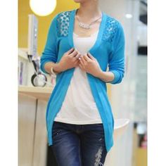 Candy Color Sweet Women Lady Girl Floral Hollow Thin Knitting Cardigan  Blouse Prendas De Punto db270b579a9b
