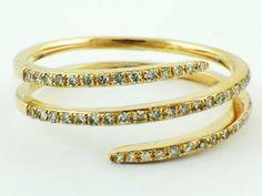 0.23ct Round Diamondin in 14K Yellow Gold Swirl Wrap Statement Ring - Sz 6.5