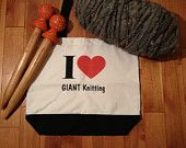 I Love GIANT Knitting Tote Bag