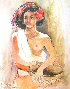 Basoeki Abdullah - Gadis Bali membawa bakul
