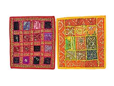 2 Indian Cushion Covers Red Yellow Sequin Embroidered Pillow Cover Bohemian Home Decor Mogul Interior http://www.amazon.com/dp/B00VJRABYS/ref=cm_sw_r_pi_dp_HJXvvb0N229SZ