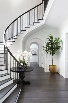 Chic, classic foyer features a curved staircase wall filled with a black round table and orchids. Chic, classic foyer features a curved staircase wall filled with a black round table and orchids. Iron Stair Railing, Curved Staircase, Staircase Design, Staircase Ideas, White Staircase, Grand Staircase, Spiral Staircases, Staircase Handrail, Stair Design