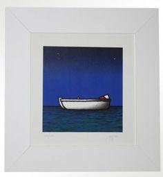 """Tino Stefanoni (n.1937), """"Barca a Remi"""", serigrafia materica, cm 30X30, tiratura 150 es. € 220,00 cornice inclusa"""