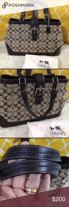 """Large Coach Signature Shoulder Bag 💟Authentic💟Excellent shape. Features 3 main compartments center zips, snap button to close. One zippered pocket and two open pocket, silver hardware and metal feet to secure when placing down. Coach hangtag and dustbag included. Roomy and functional. Don't be shy to make an offer💕  💐Dimensions: Length-17""""                            Height-9.5""""                            Bottom width-7""""                            Handle drop-9"""" Coach Bags Shoulder Bags"""