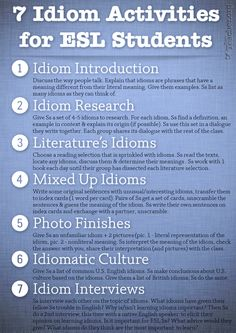 7 Idiom Activities for ESL Students. This is great for them to start understanding English idioms.