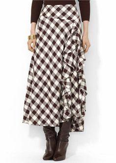 Ruffled Plaid Skirt - Lyst